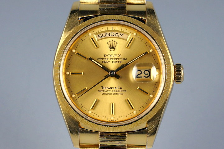 1980 Rolex YG Bark Day Date 18078 Tiffany & Co. Dial photo