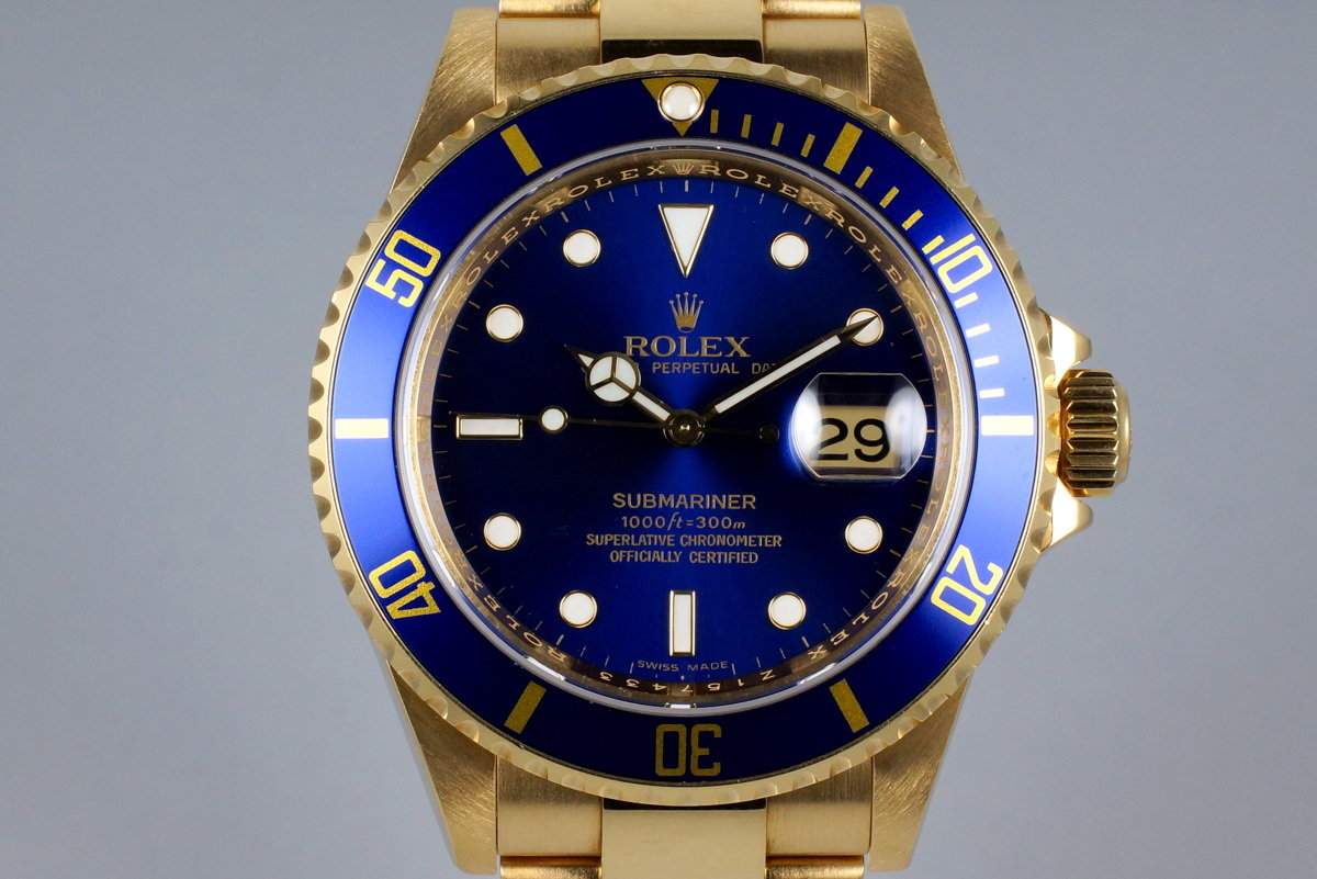 2006 Rolex YG Blue Submariner 16618 with Box and Papers photo, #0
