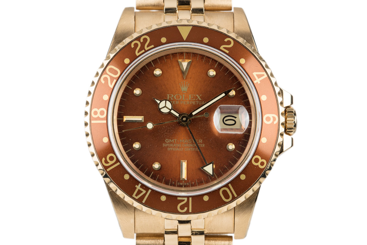 1984 Rolex 18K GMT with Root Beer Nipple Dial photo, #0