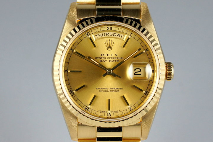 1991 Rolex YG Day-Date 18238 Champagne Dial photo
