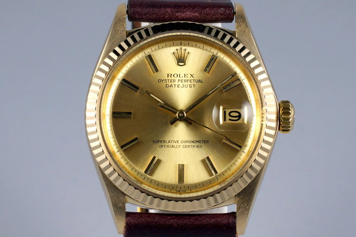 1969 Rolex YG DateJust 1601 Champagne Dial photo