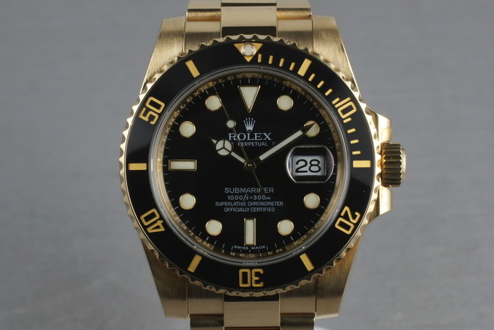 2008 Rolex Ceramic Submariner 18K Black Dial Ref: 116618 with Box and Papers photo