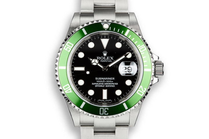 2006 Rolex Anniversary Green Submariner 16610LV with Box and Papers photo