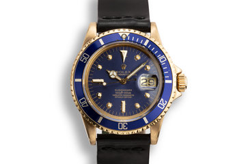1978 Rolex 18K YG Submariner 1680 Blue Nipple Dial photo