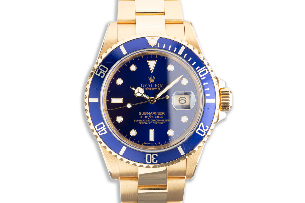1993 Rolex 18K Submariner Rolex 18K Submariner 16618T Blue Dial with Box & Papers photo, #0