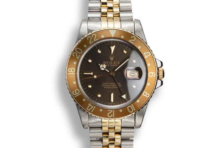 "1981 Rolex Two-Tone GMT-Master 16753 ""Root Beer"" Nipple Dial with Papers photo"