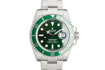 "2020 Rolex Green Submariner 116610LV ""Hulk"" with Box, Card & Full Stickers Unworn photo"