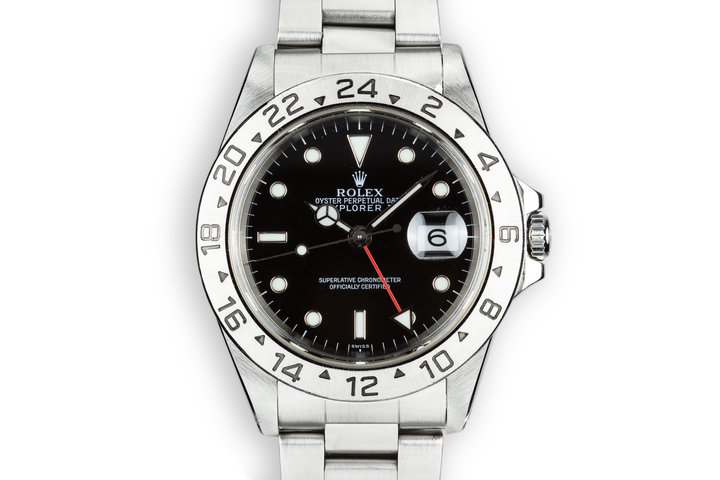 "1999 Rolex Explorer II 16570 with ""SWISS"" Only Black Dial photo"