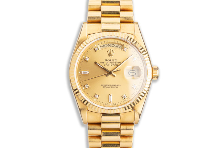 1986 Rolex 18K YG Day-Date 18038 with Metallic Gold Diamond Dial photo