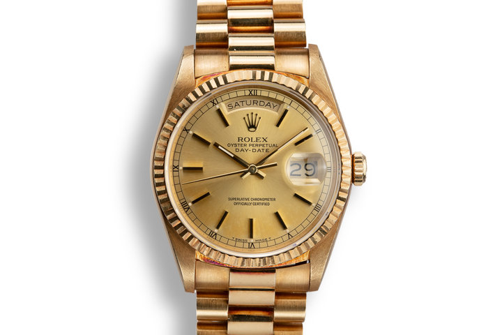 1989 Rolex 18K YG Day-Date 18238 Champagne Dial with Box and Papers photo