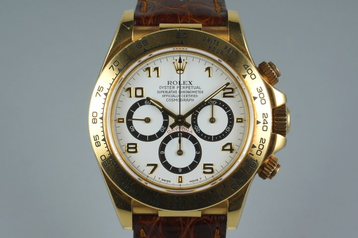 1995 Rolex YG Zenith Daytona 16518 White Arabic Dial with Box and Papers photo