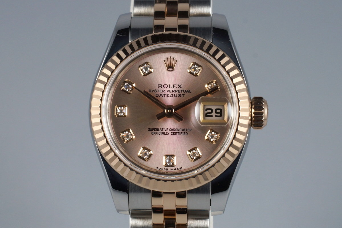 2009 Rolex Ladies Two Tone DateJust 179171 Factory Diamond Rose Dial with Papers photo, #0
