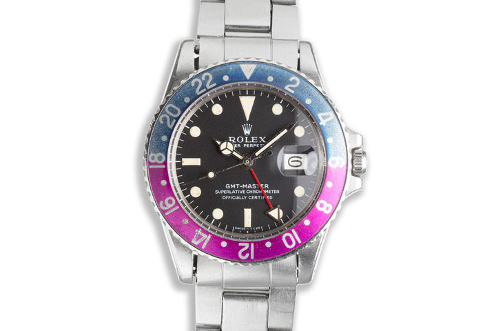 """1970 Vintage Unpolished Rolex 1675 MK 1 GMT-Master """"Fuchsia"""" with Service Papers photo"""