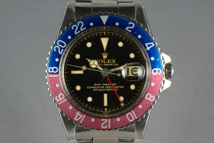Rolex GMT Ref: 1675 Pointy Crown Guard chapter ring exclamation dial photo