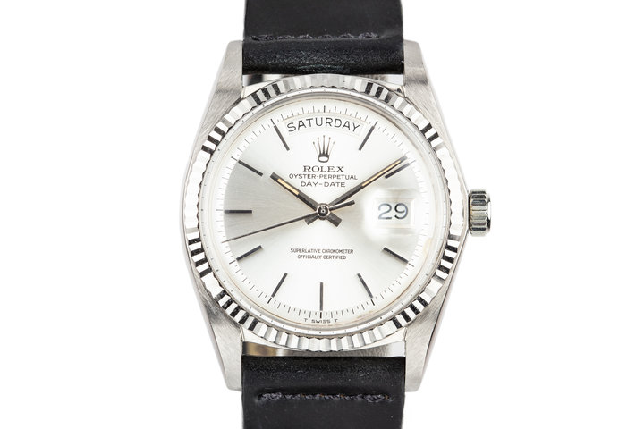 1972 Rolex 18K White Gold Day-Date 1803 with No Lume Silver Dial photo