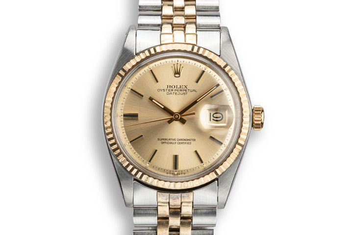 1972 Rolex Two-Tone DateJust 1601 Champagne Sigma Dial with Box and Papers photo