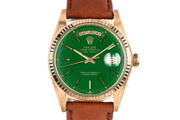 1979 18K Yellow Gold Rolex Day-Date 18038 With Green Stella Dial photo