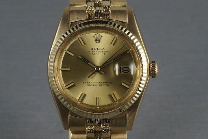 1972 Rolex Uncommon Datejust 1611 18K with bracelet with Fat Boy Dial photo