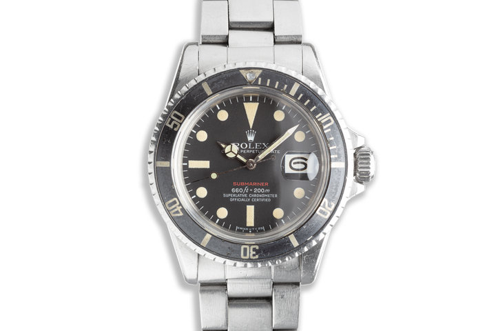 1971 Unpolished Vintage Rolex Red Submariner 1680 MK V Dial with Service Papers photo