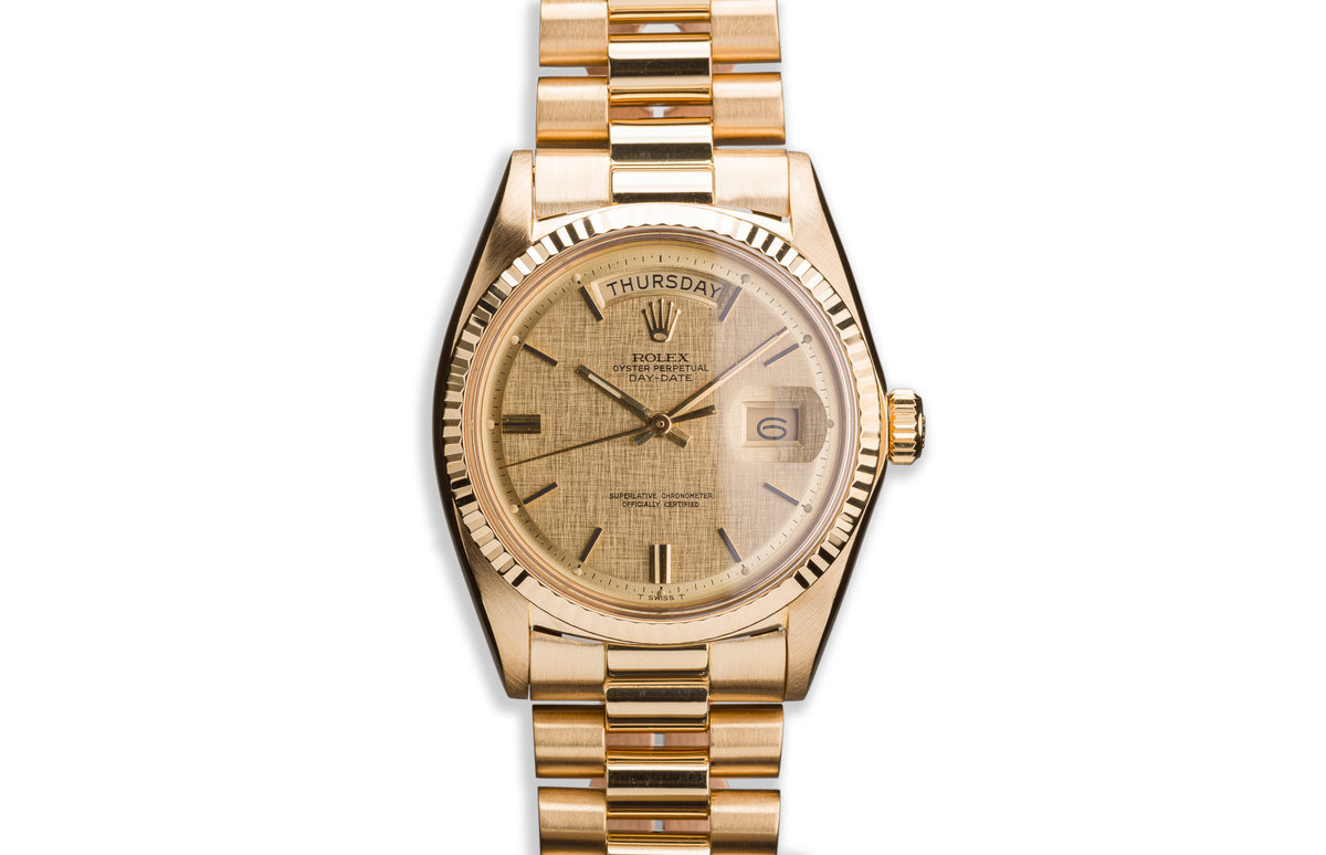 1971 18K YG Vintage Rolex Day-Date 1803 with Champagne Linen Dial photo, #0