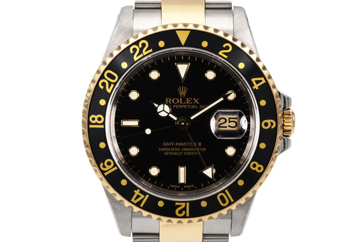 2000 Rolex Two Tone GMT II 16713 Black Dial photo