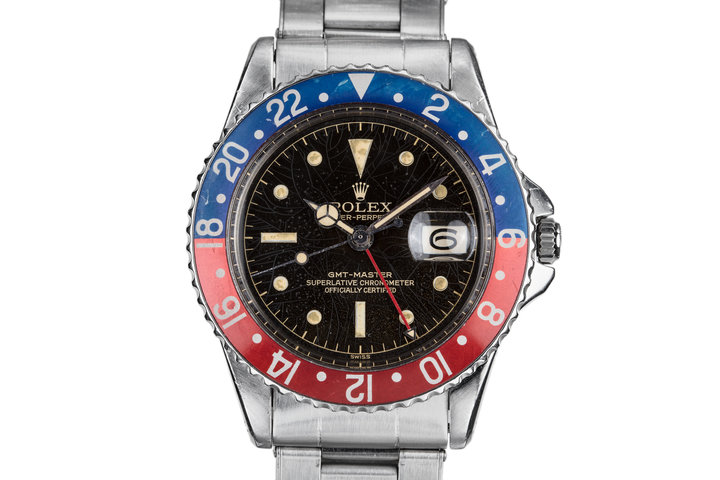"1960 Rolex GMT-Master 1675 Pointed Crown Case with ""Spider Cracking"" Gilt Chapter Ring Dial photo"