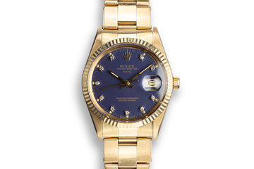 "1986 Rolex 14K YG Date 15037 ""Ford Motor Company Executive"" Blue Diamond Dial photo"