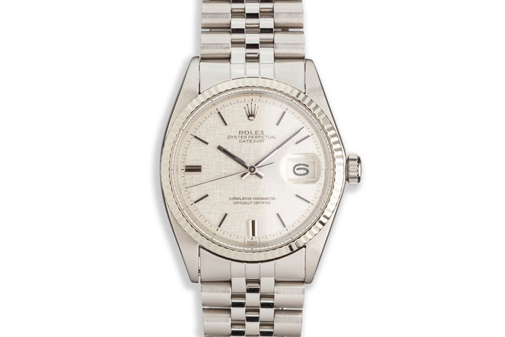 1972 Vintage Rolex DateJust No Lume Silver Linen Dial with Black Top Markers photo