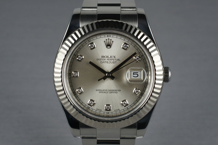 2010 Rolex Datejust II 116334 Silver Diamond Dial with Box and Papers photo