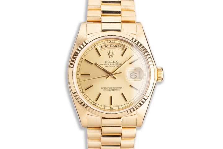 1985 Rolex 18K YG Day-Date 18038 Gold Stick Dial with Box & Papers photo
