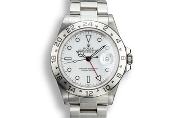 """1999 Rolex Explorer II 16570 White """"SWISS"""" Only Dial with Papers photo"""