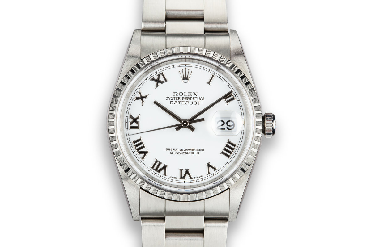 1999 Rolex DateJust 16220 White Roman Numeral Dial photo, #0