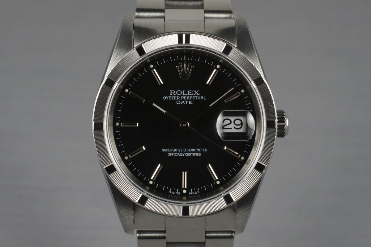 2001 Rolex Black Dial Date 15210 with Box & Papers photo, #0