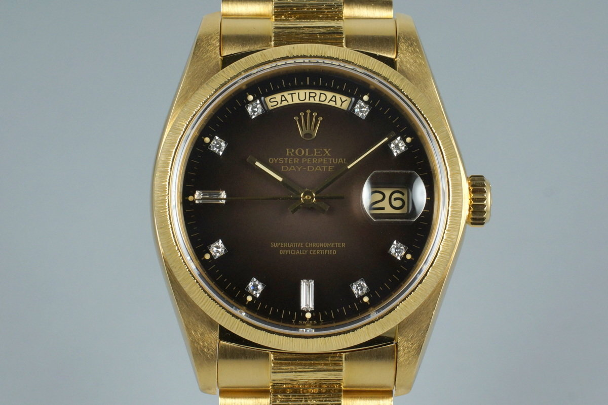 1979 Rolex YG Bark Day Date 18078 Factory Diamond Vignette Dial with Box and Papers photo, #0