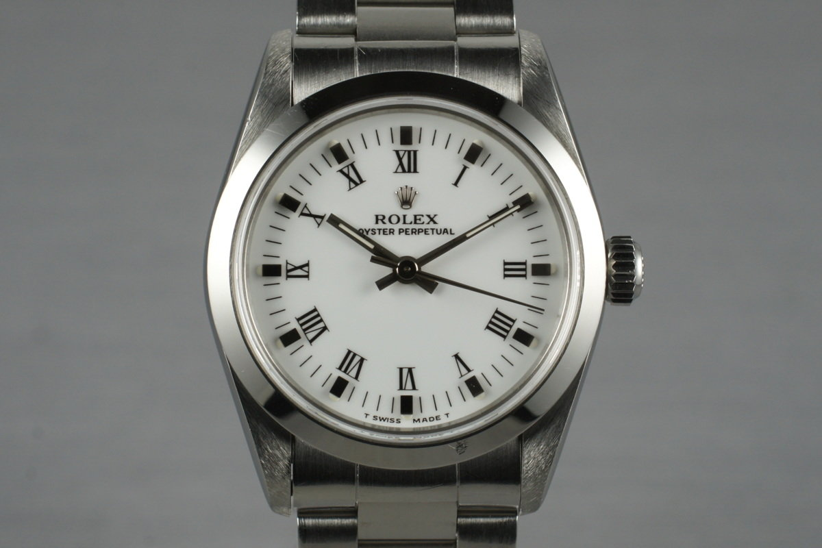 1997 Rolex MidSize Oyster Perpetual 67480 with White Roman Dial photo, #0