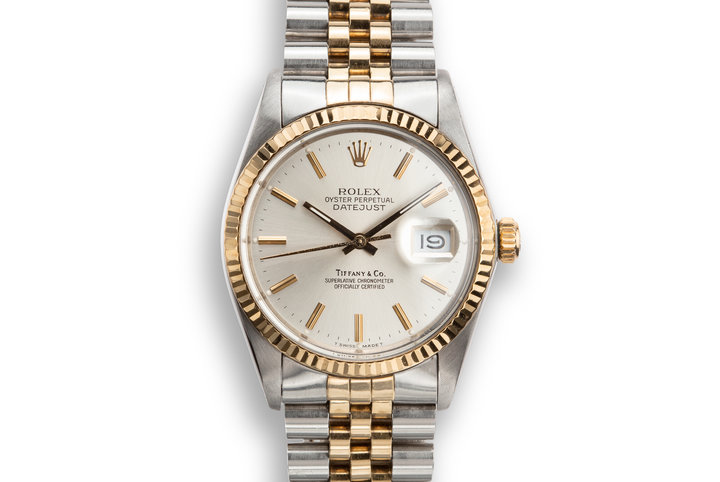 "1988 Rolex Two-Tone DateJust 16013 With Silver ""Tiffany & Co."" Dial photo"