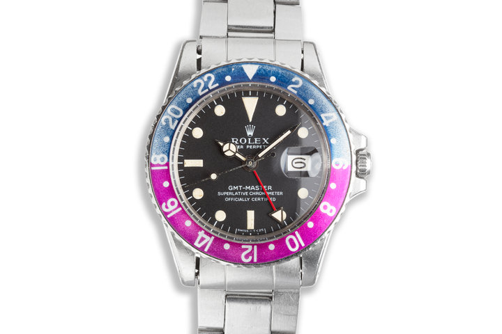 """1970 Unpolished Vintage Rolex 1675 MK 1 GMT-Master """"Fuchsia"""" with Service Papers photo"""