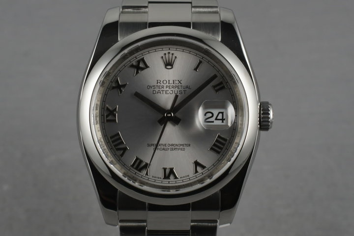 2007 Rolex Datejust 116200 with Silver Roman Dial and Box and Papers photo