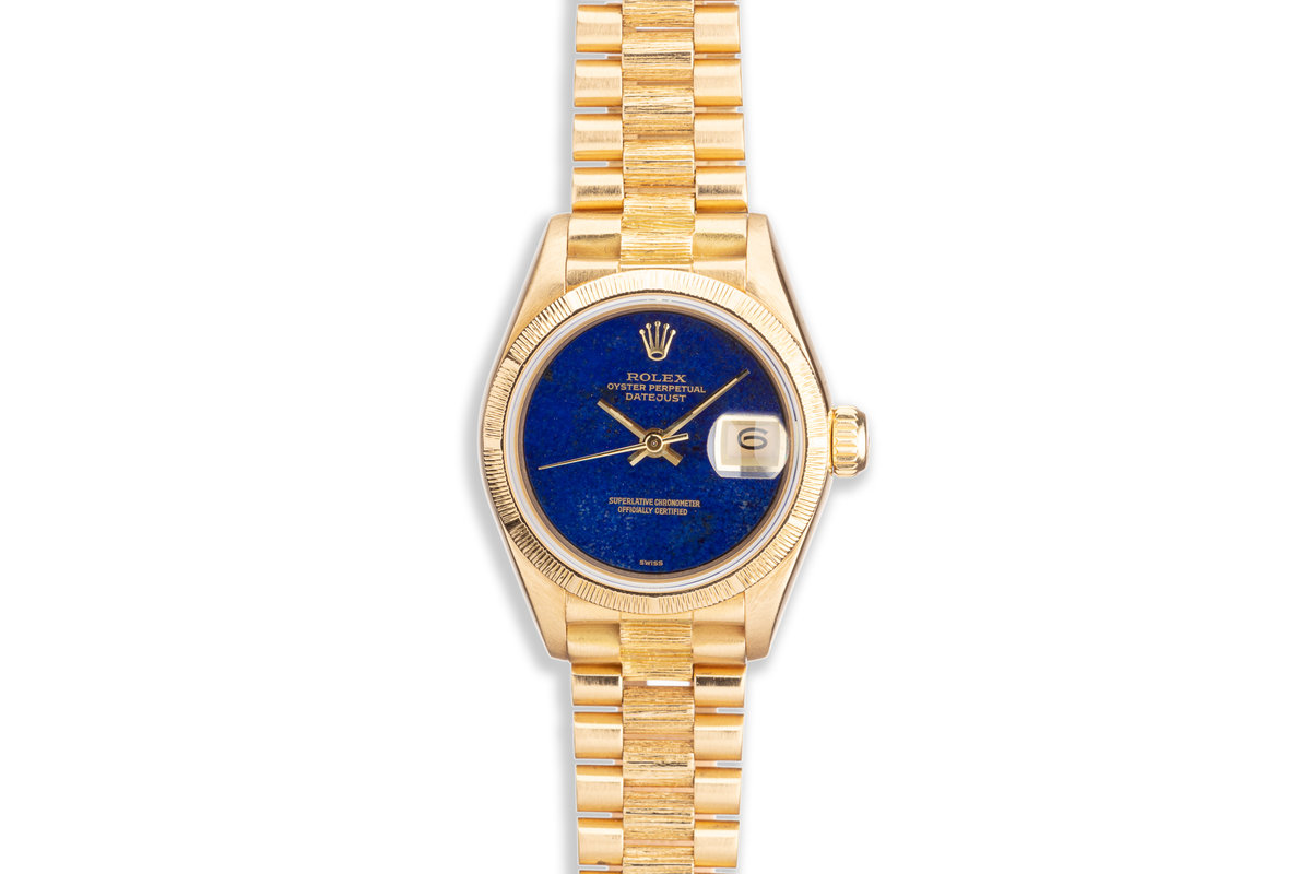 "1985 Rolex President Datejust 18K Yellow Gold Lapis Dial ""Swiss Only"" Ladies Watch 69278 photo, #0"