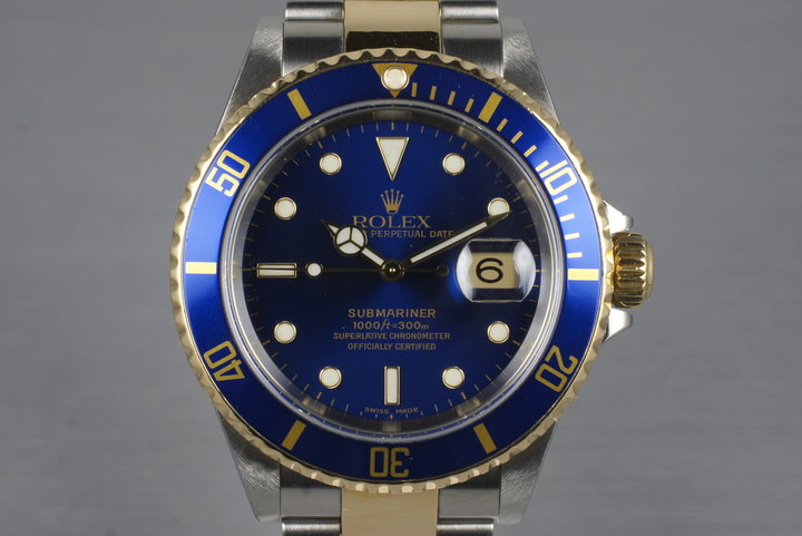 2003 Rolex Two Tone Blue Submariner 16613 with Box and Papers photo