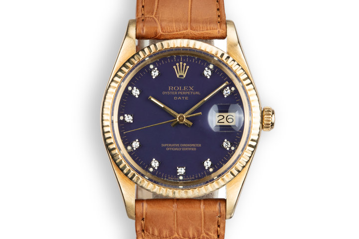 "1981 Rolex 14K YG Date 15037 ""Ford Motor Company Executive"" Blue Diamond Dial with Box and Papers photo"