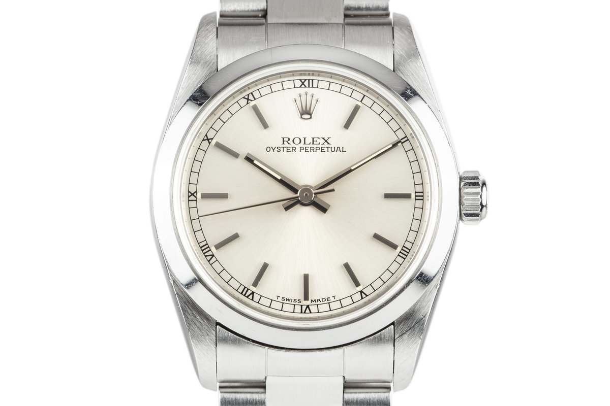 1997 Rolex Mid Size Oyster Perpetual 67480 Silver Dial with Box and Papers photo, #0
