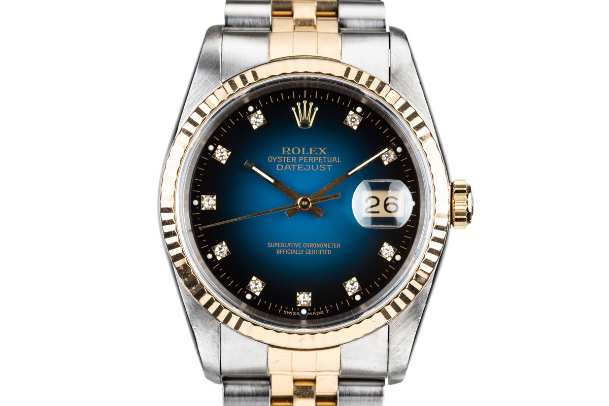 1990 Rolex Two Tone DateJust 16233 Blue Vingette Diamond Dial with Box and Papers photo, #0