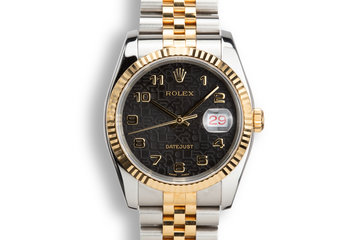 2003 Rolex Two-Tone DateJust 116223 Black Jubilee Arabic Dial with Box and Papers photo
