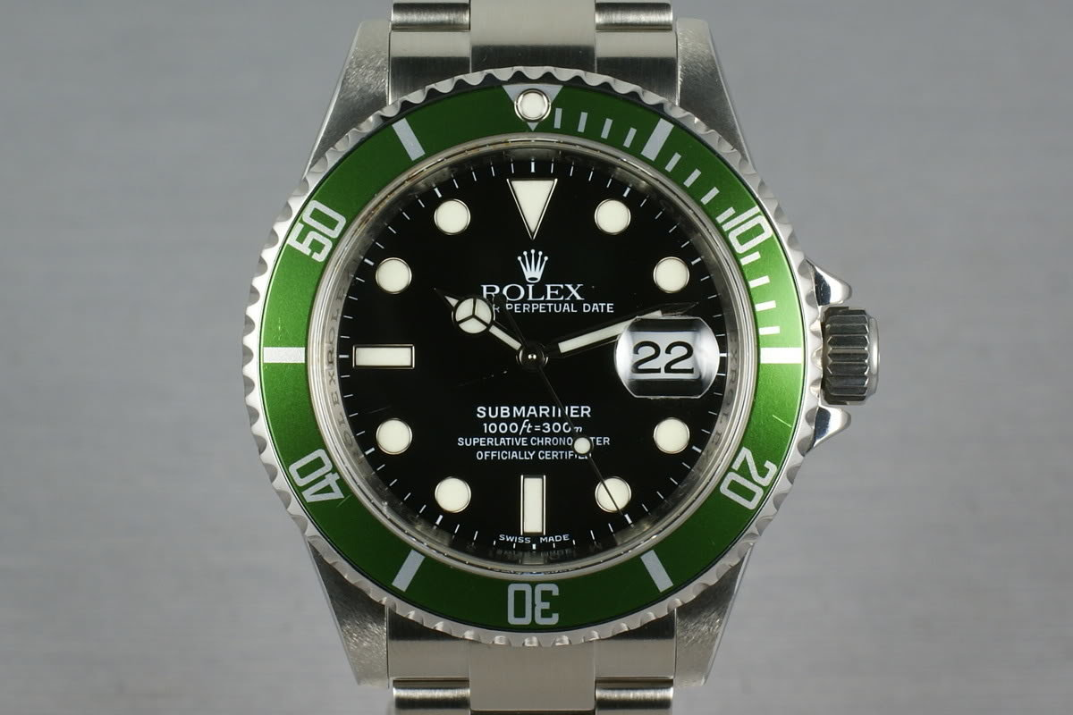 Rolex Green Submariner 16610 LV with Box and Papers M serial photo, #0