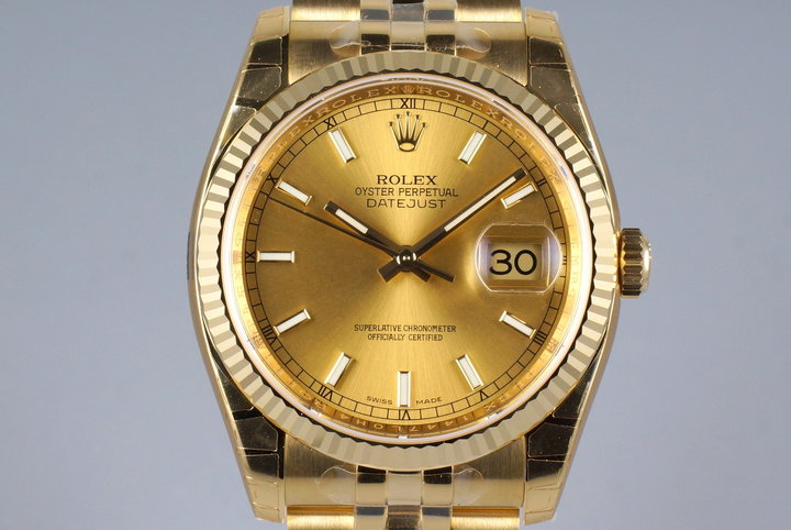 2015 Rolex YG DateJust 116238 with Box and Papers MINT photo