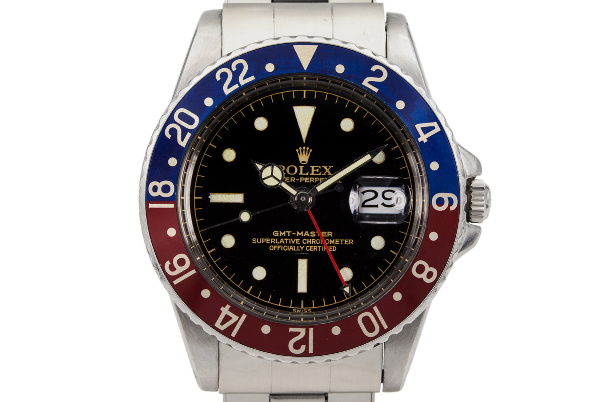 1963 Rolex GMT 1675 PCG Gilt Chapter Ring Underline Dial with Rolex Papers photo, #0