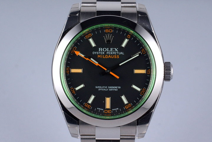 2011 Rolex Milgauss Green 116400 MINT with Box and Papers photo