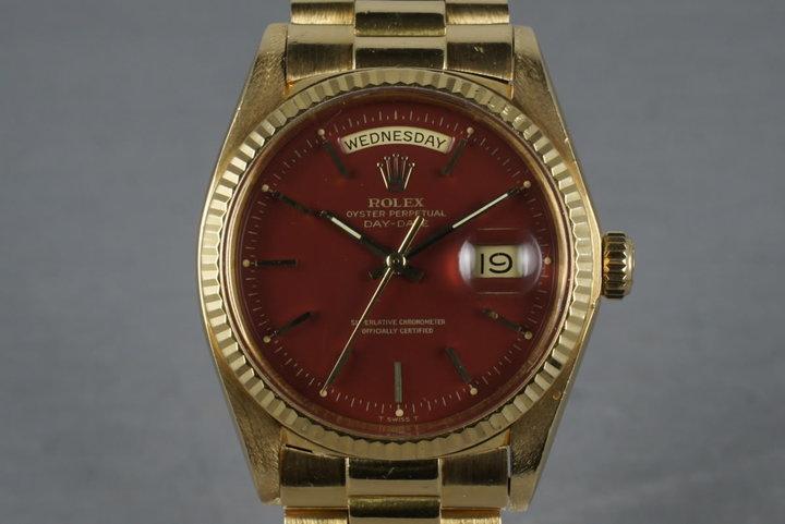 1977 Rolex 18K YG President 1803 with Ox Blood Stella Dial photo