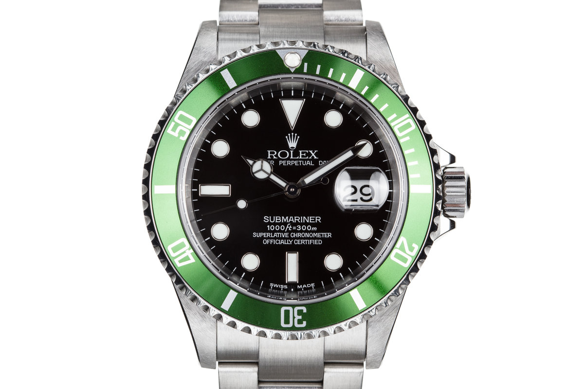 2003 Rolex Green Submariner 16610LV with Flat 4 Bezel and Box and Papers photo, #0